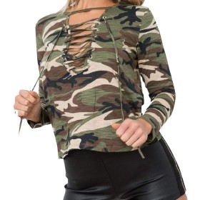 Nicellyer 女性カジュアルウィーククラシックスリムカジュアル巾着カモシャツ AS1 L