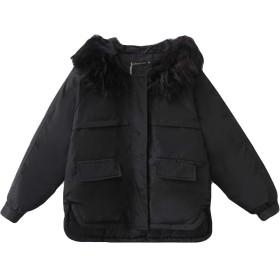 YiTong レディース ダウンジャケット ダウンコート 中綿コート アウター 長袖 ショート丈 ゆったり 着痩せ 韓国風 フード付き 厚手 冬 暖かいブラックT