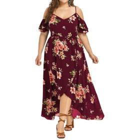 Weimay ドレス マキシドレス Lサイズのセクシーなセクシーなドレス ストラップレスのストラップレスのドレス 高貴な スタイリッシュ スリム 旅行 花 夏 赤 人気のある
