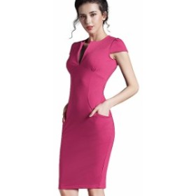 ワンピース オフィス Vネック フォーマル ストレッチ ドレス pink