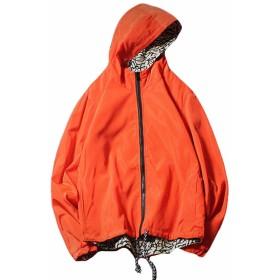 (BaLuoTe) コート メンズ ジャケット ブルゾン 秋冬 ジャンパー 大きいサイズ 黒 ハンサム シンプル フード付き メンズ スタジャン トップス カジュアル おしゃれオレンジT4