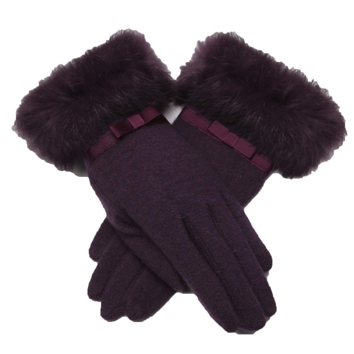 Guodishang WomenSleather Gloves Fleece Lining Leather Gloves Long Classic Brown Black