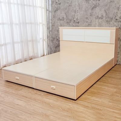 Birdie南亞塑鋼 5尺雙人塑鋼床組 床頭箱+後二抽屜床底 白橡色+白色
