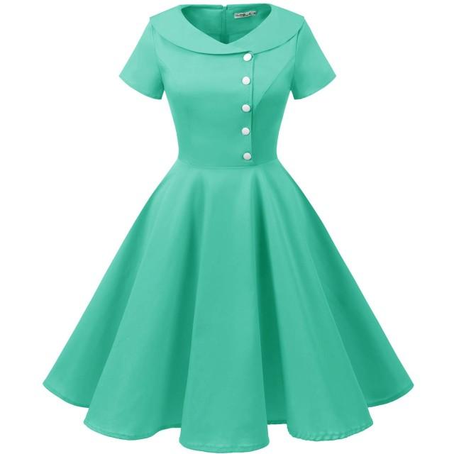 ALAGIRLS レディーズ ヴィンテージスタイル 50年代スイングワンピース 可愛いボタン 膝丈 短袖 襟付き パーティー 結婚式 お呼ばれ レトロドレス TiffanyBlue S
