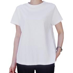 Joy Corn ゆったり Uネック Tシャツ カットソー 柔らかい 無地 レディース M~XXL