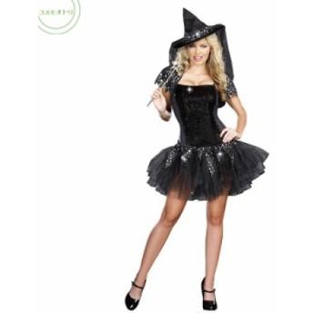 ハロウィン 万聖節 魔女 Halloween ウィッチ コスチューム 大人用 セクシー 巫女服 ミニ丈ワンピース 帽子 パーティー用仮装 悪魔 変装