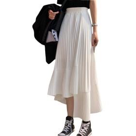 [BSCOOL]スカート レディース プリーツ ゆったり ロングスカート ハイウエスト スカラップ 韓国 ファッション 不規則 春 着痩せ フレアスカート 夏(B白)