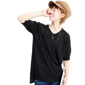 (Goldjapan)ゴールドジャパン 大きいサイズ レディース ゆったり サマーニット ビッグTシャツ ワイド チェニック ロングTシャツ カットソー 7分袖 半袖 Uネック ビッグサイズsuri-1014 XL(LL) ブラック