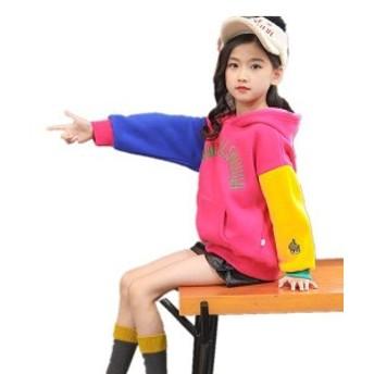 ベーシック パーカー 女の子 韓國子供服 キッズ 110-160cm ジュニア 裏起毛 長袖 秋冬 かわいい お出かけ 運動著