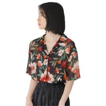 [ンーセンー] ブラウス かわいい 半袖 アロハシャツ ビーチシャツ 花柄 レディース 薄手 おしゃれ ワイシャツ カットソー カジュアル Tシャツ ブラックF