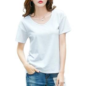 (エスライフ)S-Lifeeling 4色6サイズ Tシャツ 純色 トップス かわいい シンプル 丸い襟 きれいめ 女 上品 半袖 ラウンドネック お出掛け お呼ばれ プルオーバー