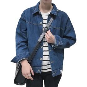 topmodelss メンズ 秋 春 デニムジャケット ファッション 上着 スリム カジュアル スタジャン 長袖 ブルゾン シンプル