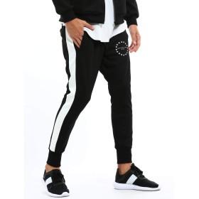 インプローブス ジャージサルエルパンツ ジャージ ライン ジョガーパンツ スポーティー メンズ ブラック L サイズ