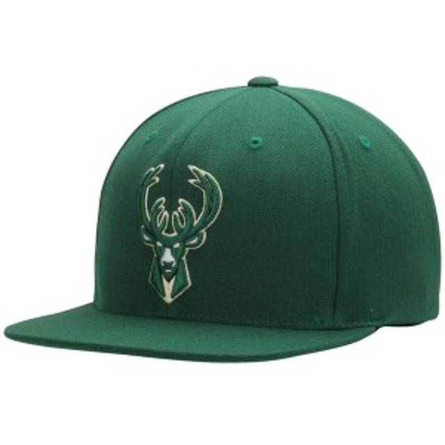 ミッチェル&ネス メンズ 帽子 アクセサリー Milwaukee Bucks Mitchell & Ness Current Logo Wool Solid Snapback Adjustable Hat Hunter