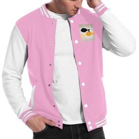 XSPWSB 男女兼用 ウサギ バニー ブランチ フライト ジャケット 野球 コート ゆるシルエット ラグラン ジャージ ストレッチ Pink L