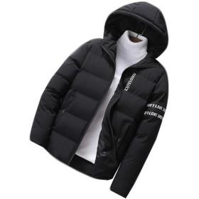 [ディーハウ]厚手 メンズ ダウンジャケット ジャンパー ブルゾン ファッション 中綿ジャケット ボリューム コート アウター 防寒 軽量 秋 冬 冬服 ショート丈 無地 防風トップス ビジネス アウタウェア ブラックL