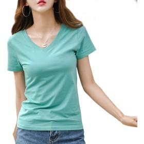 [ジンジンW] カジュアルTシャツ スポッツランニングウェア 吸湿 快適 フィットコットンTシャツ Vネック クールネック2タイプ [グリーン]S