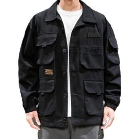 maweisong メンズ秋のアウトウェアロングスリーブの巾着ファスナーカジュアル軍事ジャケット Black L