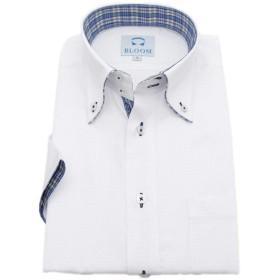 (ブルーム) BLOOM 2019夏 オリジナル 半袖 ワイシャツ クールビズ 形態安定 4 ブルーチェック M