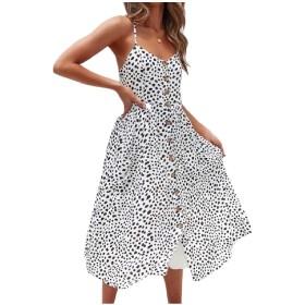 WE&energy 女性ポケットスリップシングルボタン花プリントバックドレスドレス Pattern1 XS