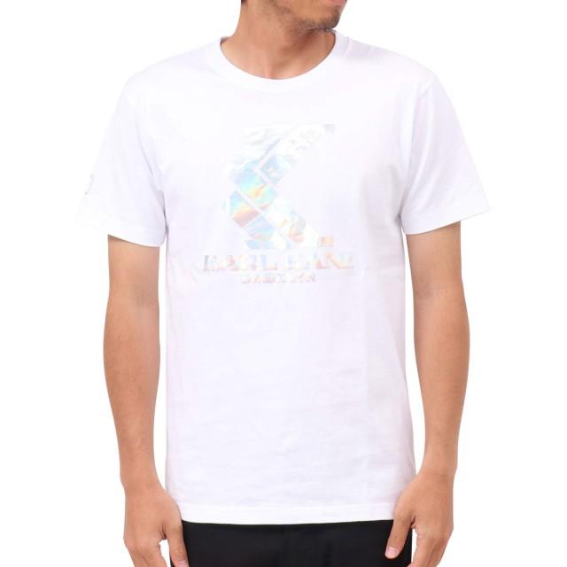 [カールカナイ] Karl Kani Tシャツ JAPAN 加工 オーロラ ホログラム ロゴ Tee 192K1025Q ホワイト L