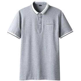 SHEYA ポロシャツ 半袖 無地 メンズ スポーツ ウェア ゴルフウェア (XL, グレー(26))