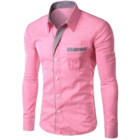 cheelot メンズソリッドカラーコットンロングスリーブボタンスリムフィットリラックスシャツ Pink 2XL