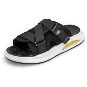 [XYZL] スリッパ サンダル メンズ スポーツサンダル 軽量 25.0cm スリッパ メンズ レディース ブラック 軽量 おしゃれ 歩きやすい ファッションサンダル 滑り止め 柔らかい 事務所 紳士用 コンフォートシューズ スリッパ 室内/室外履き