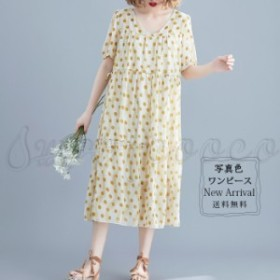 シフォンワンピース 半袖 レディース 夏 ロング丈 水玉柄 ドット柄 大きいサイズ 20代 30代 40代 50代 カジュアル 可愛い きれいめ おし
