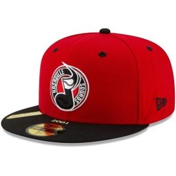 ニューエラ メンズ 帽子 アクセサリー Nashville Sounds New Era 100th Anniversary Patch 59FIFTY Fitted Hat Red