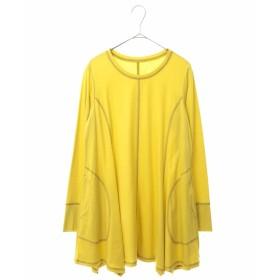 HIROKO BIS 【洗える】ステッチデザインチュニック Tシャツ・カットソー,イエロー