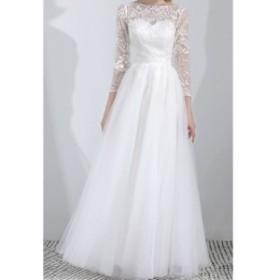 送料無料 ウエディングドレス aライン 白 レース ボレル 安い 花嫁 結婚式 パーティードレス 二次会 ブライダル ロングドレス イブニング