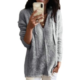 chenshiba-JP レディースファッションふわふわフリーススウェットシャツのアウターウェア Grey 4XL