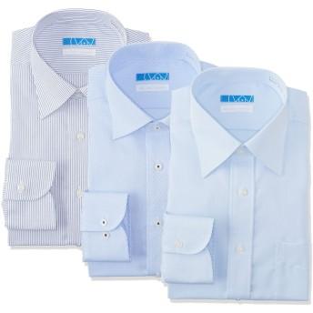 [ドレスコード101] ノーアイロン ワイシャツ メンズ(綿100% 形態安定 3枚組 セット) 10サイズ 色柄ワイドカラー×3枚セット 日本 L(裄丈84) (日本サイズL相当)