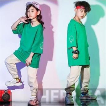 キッズ ダンス衣装 HIPHOP ヒップホップ セットアップ キッズダンス衣装 ダンストップス パンツ ズボン 子供 男の子 女の子 ステージ衣装