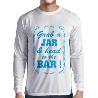 N4524L 男性用長袖Tシャツ Grab a Jar and & head to the Bar! (Small ホワイトブルー)