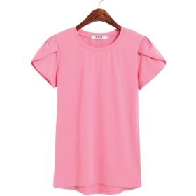 formanism ガーリー シンプル チューリップ スリーブ 半袖 Tシャツ ラウンド ネック レディース (ピンク L)