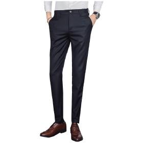 Tootess メンズズボンストレートビジネスフラットフロントスーツ別パンツ Black 27