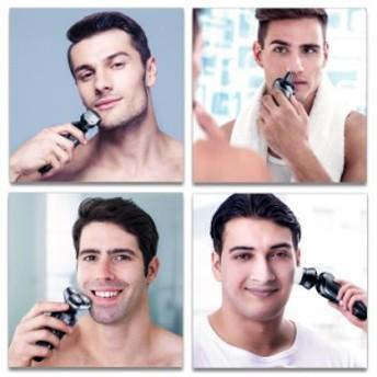 SURKER シェーバー 電動髭剃り 3 in 1髭剃り 3枚刃回転式シェーバー/トリマー/鼻毛カッター1台3役 洗顔ブラシ付き USB充電 本体・