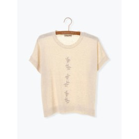 【Samansa Mos2:トップス】刺繍プルオーバーニット