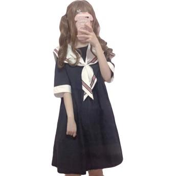 AOZUOワンピース ドレス 体型カバー レディース 甘い 海軍風 ふんわり 半袖ワンピース チュニック Lolita リボン付き パーディー デート 可愛いネイビー