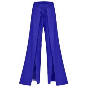 Qiangjinjiu Women Pants Wide Leg Elastic High Waist Split Trousers Casual Streetwear Blue XL