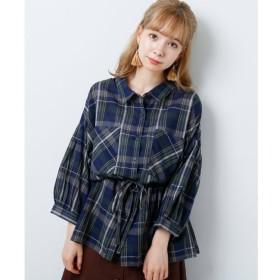 【レイカズン/RAY CASSIN】 7分袖両ポケドロストチェックシャツ
