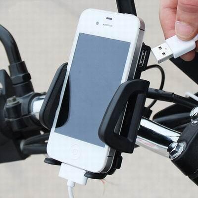 【摩托車可充電手機支架-適用3.5-6.0寸-1套/組】機車騎行用品12V通用型可旋轉調節-527027