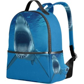SAMAU リュック レディース 軽量 リュックサック サメ柄 海 大容量 小学生 中学生 高中生 通学 通勤 旅行 多機能