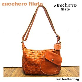 zucchero filato ズッケロ フィラート 斜め被せポケット横型カウレザーメッシュショルダーバッグ