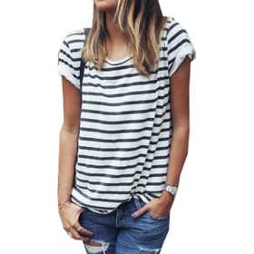 MUSTY 女子ラウンドネック黒と白のストライプ半袖Tシャツ (S)