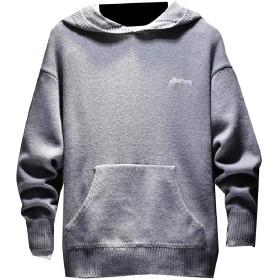 VITryst メンズ刺繍フード秋ニットジャケットポケットプルオーバーセーター Grey M