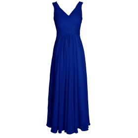 Dresstell レディーズ ロング丈 ブライズメイドドレス 結婚式ドレス ノースリーブ ビスチェタイプ シフォンのお呼ばれ フォーマルドレス プロムドレス 花嫁ワンピース 二次会ドレス ロイヤルブルー サイズ9