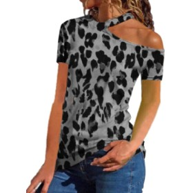 maweisong Off Shoulder Tops for Women Sexy Short Sleeve Choker Neck T Shirts Grey S